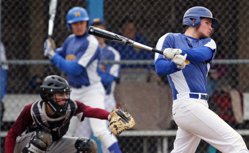 Mattituck's James Nish hits a home run earlier this season. (Credit: Daniel De Mato, file)