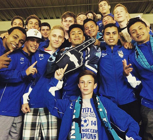 The state champion Mattituck High School boys soccer team enjoying the Yankee Stadium experience on Friday night. (Credit: Courtesy Photo)
