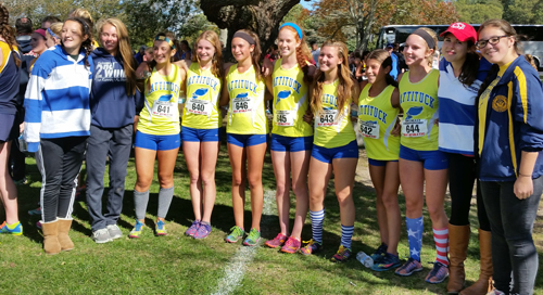 Members of the Mattituck girls cross-country team posed for photos Friday at the Brown Invitational in Warwick, R.I. (Credit: Courtesy photo)