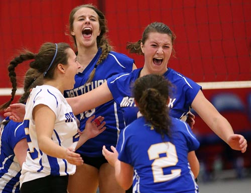 Mattituck celebrated a series of wins on their way to the state championships last year. (Credit: Garret Meade, file)