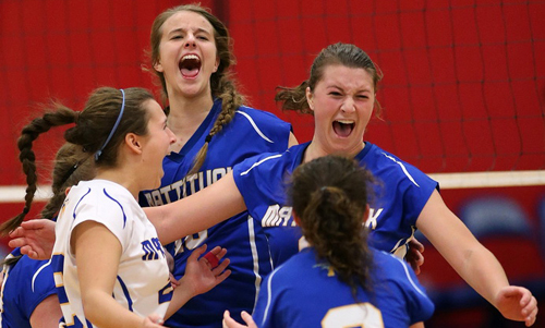 From left, Julia Orlando, Lisa Angell, Emilie Reimer and Meghan McKillop (2) rejoice after the Tuckers capture their fifth county championship in 12 years. (Credit: Garret Meade)