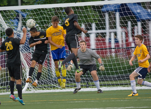 GARRET MEADE PHOTO | Mattituck goalkeeper Steve Ostrowski watching action in his penalty area.