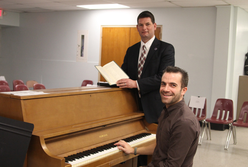 Mattituck High School music teacher Jacob Fowle, right, and principal Shawn Petretti in the chorus room where the (Credit: Jen Nuzzo)
