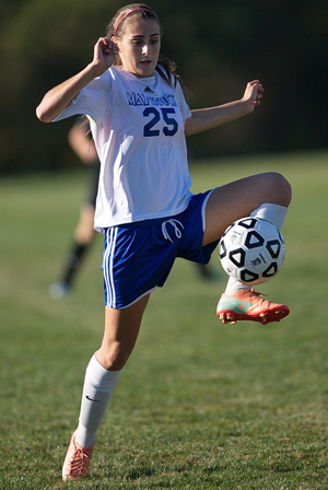 Mattituck sophomore forward Alya Ayoub was involved in the Tuckers' last two goals against Pierson/Bridgehampton, scoring one and assisting on the other. (Credit: Garret Meade)