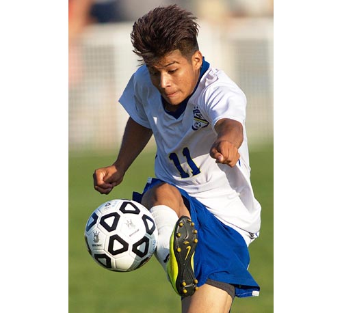 Sophomore forward Axel Rodriguez-Canal scored two goals for Mattituck against Center Moriches, giving him 11 goals in six games. (Credit: Garret Meade)