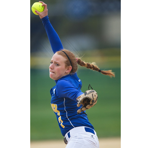 GARRET MEADE PHOTO | Mattituck senior Sara Perkins pitched her first career no-hitter in the same game in which she slugged her first career home run.