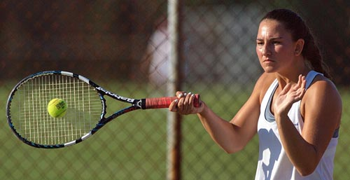 First singles player Courtney Penny is part of a Mattituck team that has shown a great deal of tenacity. (Credit: Garret Meade)