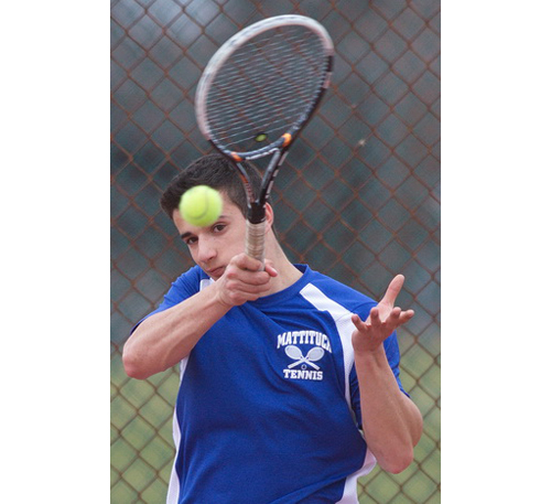 Mattituck's top singles player, Garrett Malave, went 13-4 and was a conference quarterfinalist last year. (Credit: Garret Meade, file)
