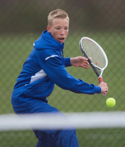 GARRET MEADE PHOTO | Thomas Chatin of Mattituck lost his first four games at fourth singles to Longwood's Nick Zier before recovering for a two-set victory.
