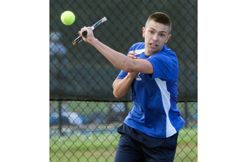 Ty Bugdin was part of Mattituck's sweep of the four singles matches in its playoff win over Sayville. (Credit: Katharine Schroeder)