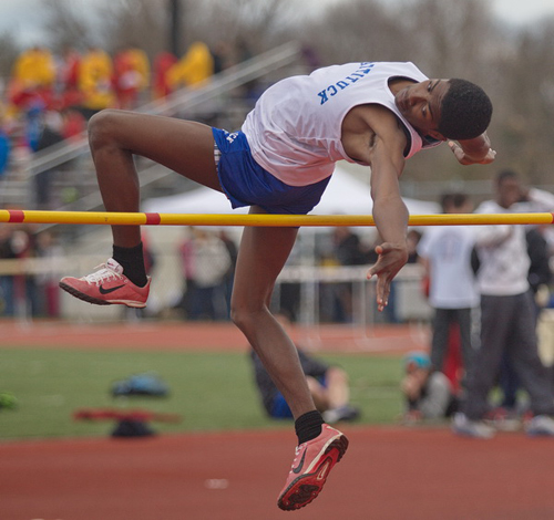 GARRET MEADE PHOTO | Mattituck high jumper Darius Brew missed this attempt, his first at 5 feet 7 inches, but went on to clear a personal-record 6-0 and tie for fourth place.