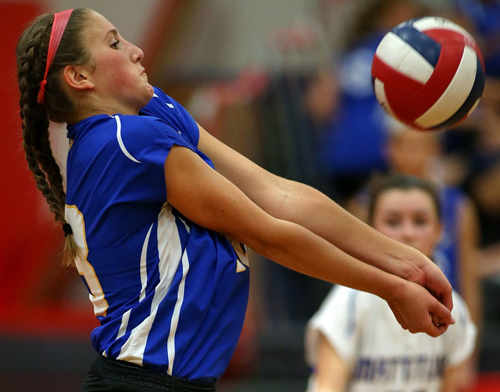 Mattituck sophomore Madison Osler bumping the ball during Thursday's non-league match in Mount Sinai. (Credit: Garret Meade)