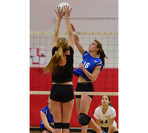 GARRET MEADE PHOTO | Shannon Dwyer (16) had a match-high 11 kills to go with 4 blocks for Mattituck, which picked up its fourth county championship.