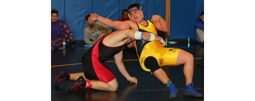 DANIEL DE MATO PHOTO | Connor Andersen, right, was one of six Mattituck/Greenport wrestlers to reach the finals of the North Fork Invitational on Saturday.