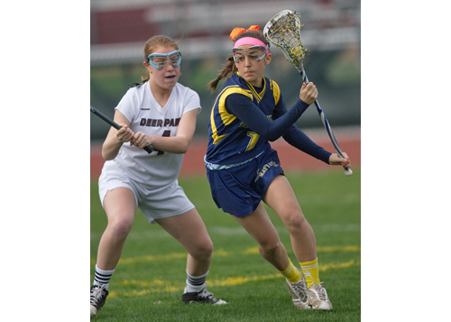 GARRET MEADE PHOTO | Mattituck/Greenport/Southold's Audrey Hoeg trying to pass a Deer Park defender.