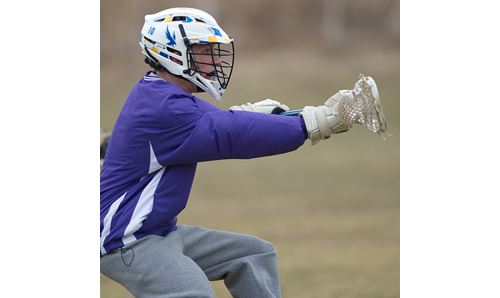 One of Mattituck/Greenport/Southold's four returning seniors, middie Connor Malone, during Friday's practice. (Credit: Garret Meade)