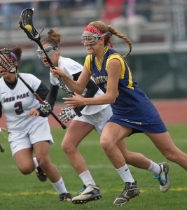 GARRET MEADE PHOTO | Katie Hoeg charging forward before scoring one of her 7 goals against Deer Park.