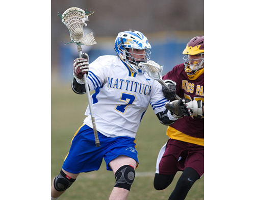 Pat Robbins scored one of Mattituck/Greenport/Southold's goals against Kings Park on Friday at Mattituck High School. (Credit: Garret Meade)