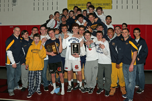 Mattituck/Greenport/Southold's wrestlers won their third straight Suffolk County Division II team championship on Friday night at Center Moriches High School. (Credit: Daniel De Mato)