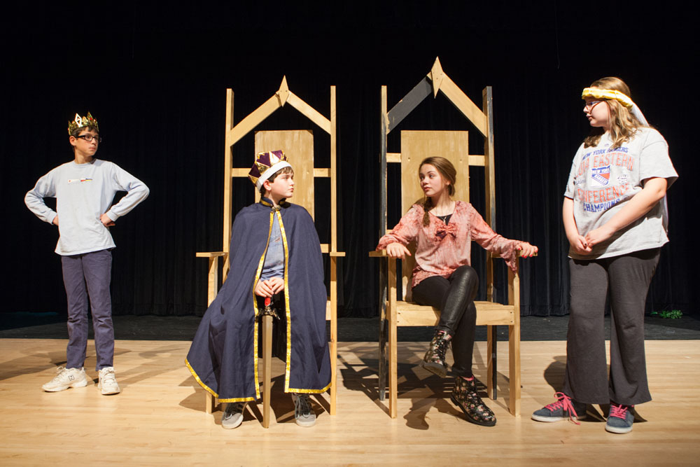 The Mattituck Jr. High Players rehearse 'Forgiven: A Fairy Tale,' which opens Thursday. (Credit: Katharine Schroeder)