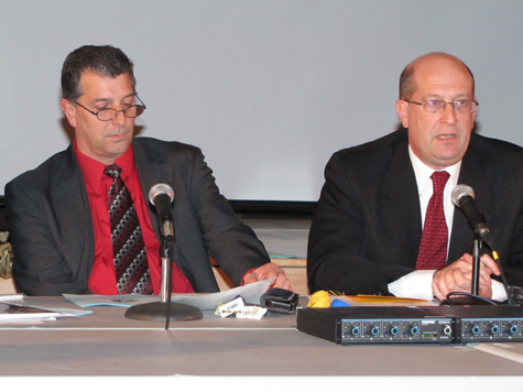 FILE PHOTO | Greenport Superintendent Michael Comanda, left, and Southold Superintendent David Gamberg recently announced a joint agreement to hire a technology director.