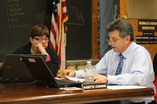 JENNIFER GUSTAVSON | Greenport School District Superintendent Michael Comanda, left, and school board member Babette Cornine at Wednesday night's meeting.