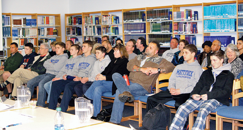 JENNIFER GUSTAVSON PHOTO | Lacrosse players and parents at last week's Mattituck school board meeting.