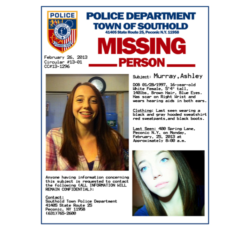Peconic Teen Officially Declared Missing Person Suffolk