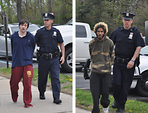 Police lead Colegedo Mokus and Nigel Ortiz into court Friday morning. (Credit: Cyndi Murray)