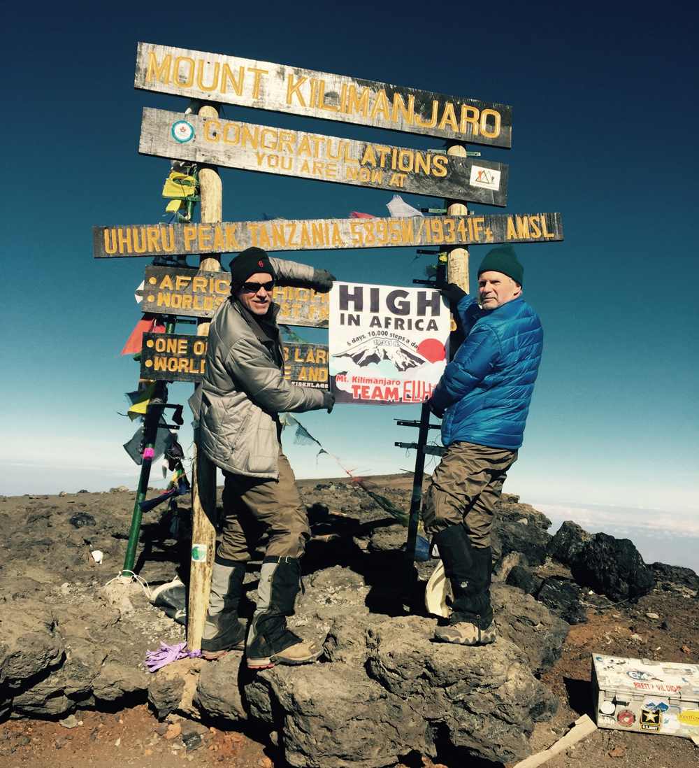 Eastern Long Island Hospital's Paul Connor, president and CEO  and Dr. Anthony Mitarotondo, chief of radiology  at the top of Mt. Kilimanjaro. (Credit: Courtesy Photo)