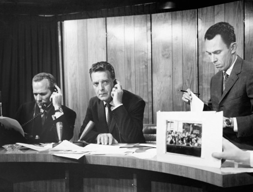 NBC COURTESY PHOTO | From left, NBC News' Frank McGee and Chet Huntley report on the assassination of President John F. Kennedy.