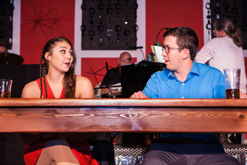 Nicole Bianco and Sam Notaro in a scene from North Fork Community Theatre's production of 'First Date: The Musical,' which opens Thursday, Oct. 13, at the Mattituck theater. Performances continue Thursdays-Sundays through Oct. 30.