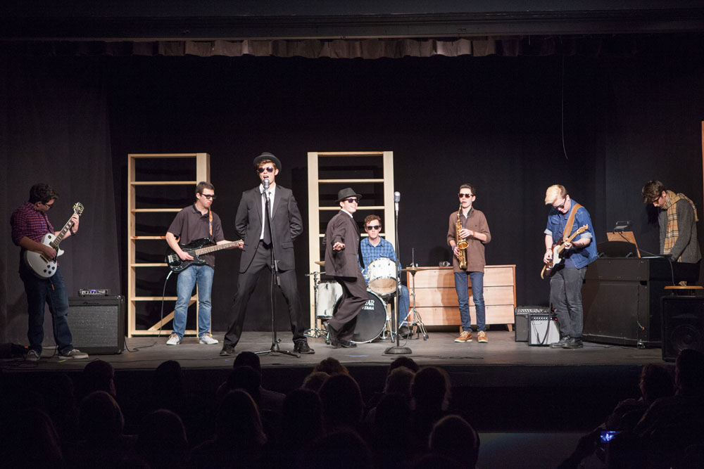 "From left, Mark Moran, Connor Vaccariello, Dimitris Niflis, Sam Basel, James Thilberg, Keaton Comiskey and Patrick Connoly perform ""Everybody Needs Somebody to Love."""