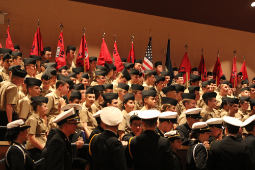 The Southold-Mattituck-Greenport NJROTC unit during its annual inspection in December at Southold High School. (Credit: Jennifer Gustavson, file)