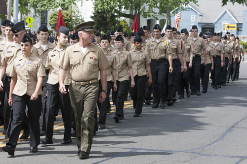 NJROTC marching in this year's Memorial Day parade in Mattituck. (Credit: The Suffolk Times)