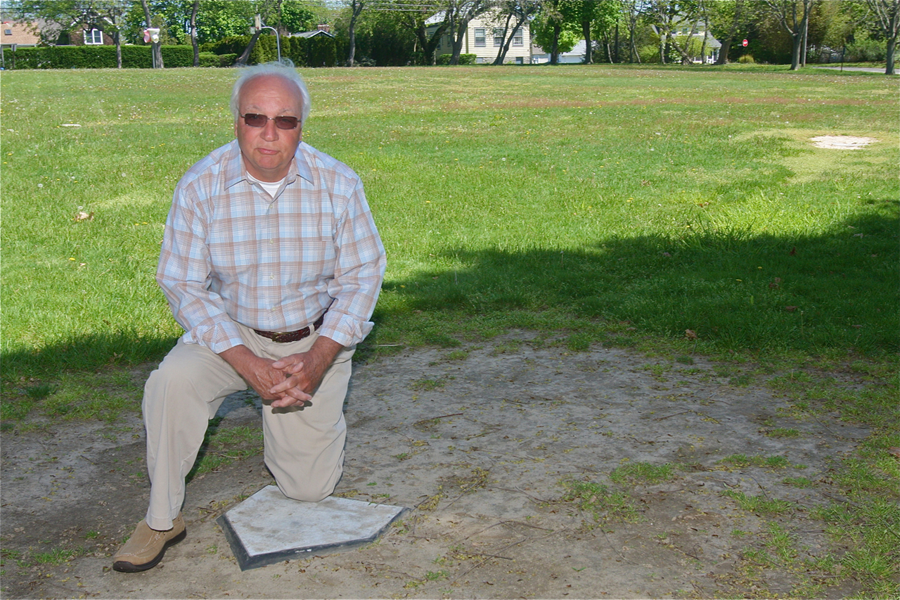 Civic president Paul Cacioppo at the New Suffolk ballfield Thursday. (Credit: Barbaraellen Koch)