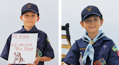 Jonathan Nyilas, 9, of Cutchogue and Gabriel Perez Colombo, 8, of Cutchogue have helped to protect piping plovers. (Credit: Carrie Miller)