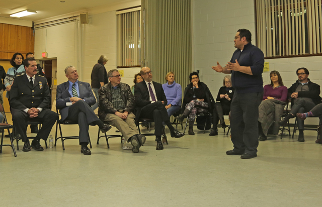 Oscar Cruz of Greenport addresses town officials at Monday night's Synergy Greenport event. (Credit: Krysten Massa)