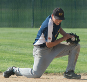 ROBERT O'ROURK PHOTO | North Fork second baseman Tom O'Neill snagging a ground ball.