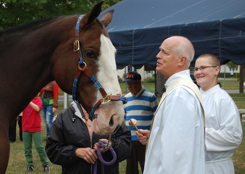 GRANT PARPAN PHOTO | Deacon Jeff Sykes and altar boy Chris Massey of Our Lady of Good Counsel Church in Mattituck bless a horse Sunday.