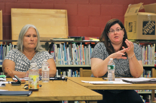 JENNIFER GUSTAVSON FILE PHOTO | From right, Oysterponds school board president Dorothy-Dean Thomas and board member Linda Goldsmith. Tonight's Board of Education meeting is at 7:30 p.m.