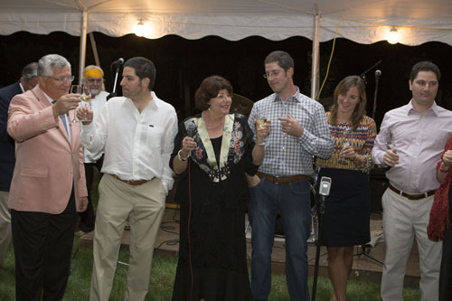 KATHARINE SCHROEDER PHOTO | The Massoud family at the 30th anniversary celebration of Paumanok Vineyards Saturday night.