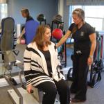 Peconic Landing controller Lisa Quinn (left) and fitness instructor Libby Koch.