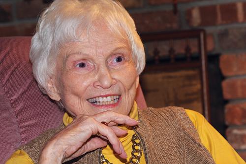 Tony-Award winning actress Peg Murray at home in Southold last week. (Credit: Barbaraellen Koch)