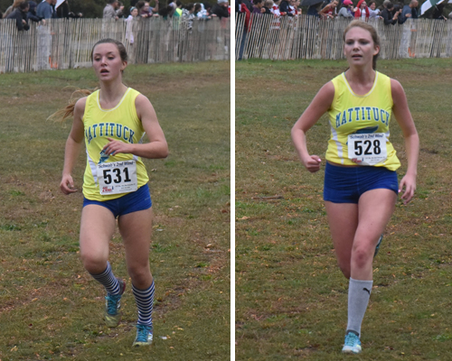 Mattituck sophomore Melanie Pfennig (left) and senior Kaylee Bergen were the top two runners for the Tuckers Tuesday. (Credit: Robert O'Rourk)