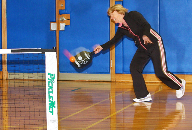 Pat Kazlauskas of Riverhead playing Pickleball at Riley Avenue School last year. (Credit: Barbaraellen Koch, file)