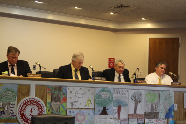 Southold Town Planning Board members at Monday night's meeting. (Credit: Jen Nuzzo)