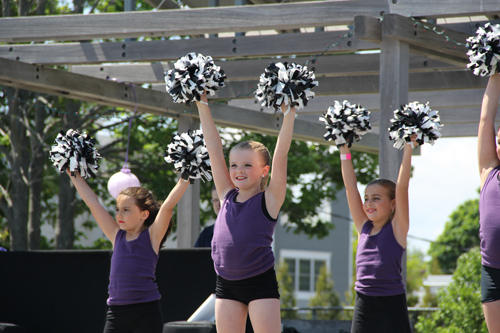 Cheerleaders from the North Fork Dance Academy helped pump up the crowd.