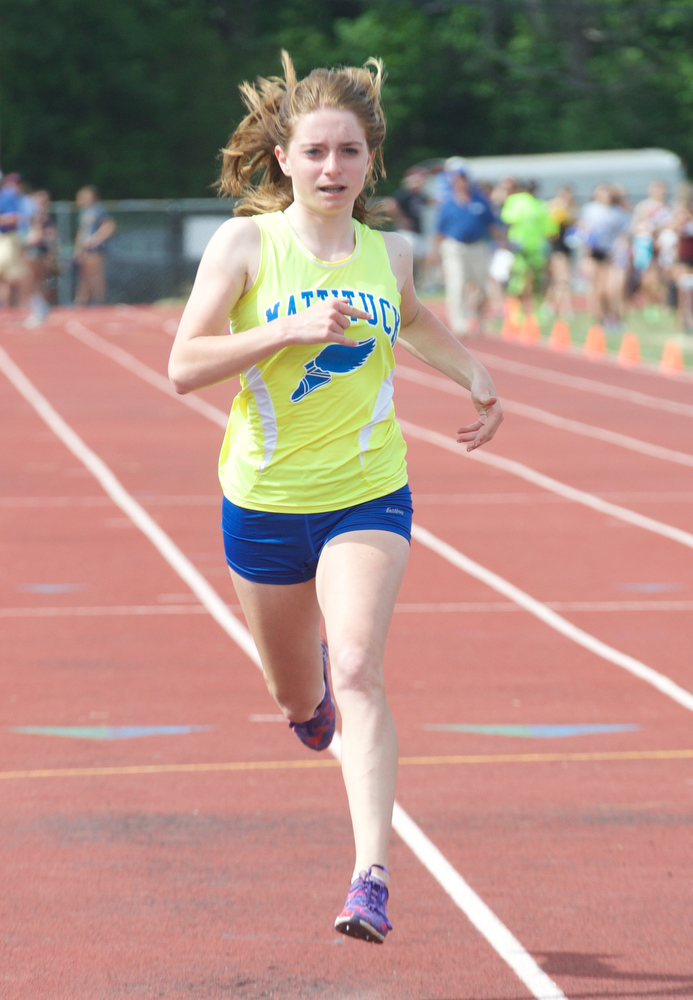 Megan Dinizio races in the 100.