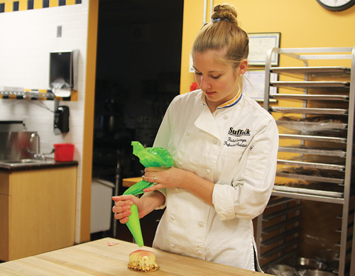 Pastry chef Rachel Cronemeyer at Suffolk County Community College's Culinary School in Riverhead. (Credit: Jen Nuzzo)